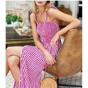 EMERSON FRY Santiago Stripe Sundress - Yarrow Pink